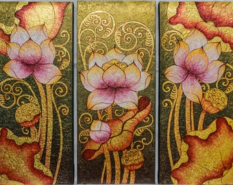 """Oil on canvas painting with gold leaf  """"Lotus for Buddha"""" 3 panel paintings each measuring 11 3/4"""" wide and 27 5/8"""" height"""