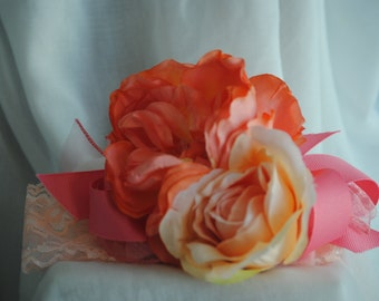 Floral Headband made with the softest peach flowers and  lace accents