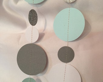 Seafoam, White, Grey & Silver Paper Curtain
