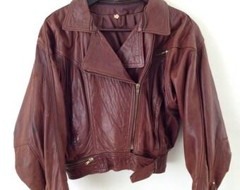 VINTAGE russet red LEATHER 1980'S BOMBER biker style jacket.