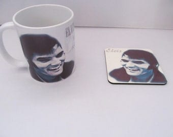 ELVIS PRESLEY personalized mug and coaster with wording, great for fathers day and birthdays