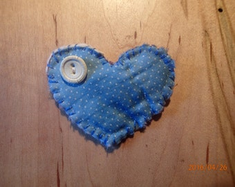 Heart Pin Vintage Quilt Shabby Chic. Bue. White. Handmade from Primitive, Patchwork Quilt. One-of-a-Kind.