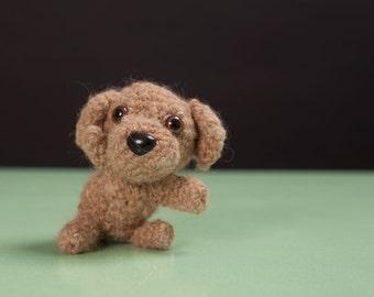 Stuffed puppy - hand-knit