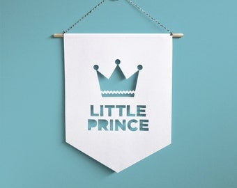 Little Prince Wall Hanging Banner, Boys room decor, Nursery flags, Nursery Decor, Baby room decoration