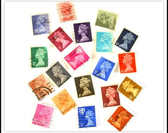 Assorted Used Cancelled Postage Stamps - Queen Elizabeth - Great Britain & Regionals
