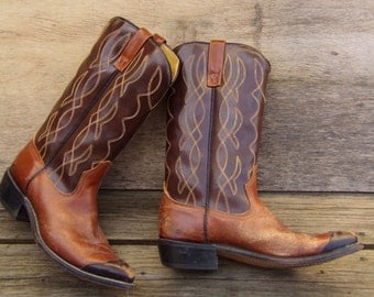 Vintage Acme Two Toned Brown Real Leather Mens Cowboy Boots USA Made Size 8D Western Cowboy Hand Made Vintage  Boho
