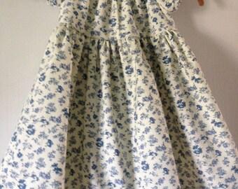 Blue floral print toddler dress