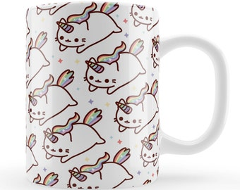 Caticorn Mug, cute cat unicorn gift, unique rainbow kawaii present UK, cute cat character birthday gift, friends present ideas UK