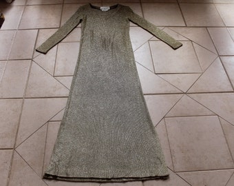 Vintage BOB CUNNINGHAM Gold Full-Length Dress      Sz S