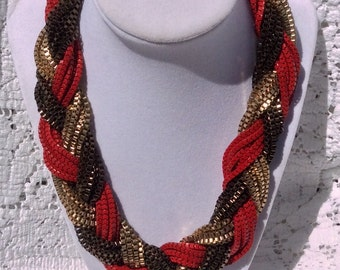 Red and Gold Vintage Rope Necklace