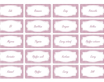 the label 65 x spice labels | Lilac Vichy design | Stock labels | Household labels