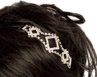 Beautiful three interlocking triangles of  Preciosa Czech Crystals diamonds pin-in.