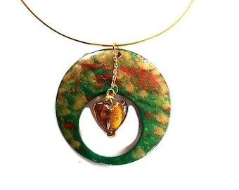enamel pendant and heart gold glass handmade jewelry Choker