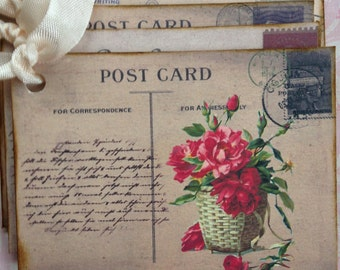Vintage Postcard Gift Tags/Flowers in a Basket Tags/Vintage Inspired Hang Tags/Postcard Tags/All Occasion Tags/Set of 6