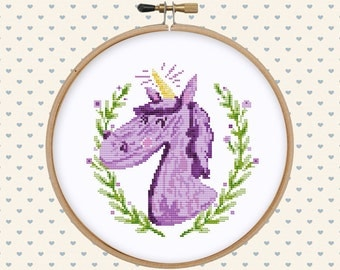 Unicorn cross stitch pattern pdf - watercolor cross stitch - cute cross stitch pattern - nursery cross stitch pattern - instant download