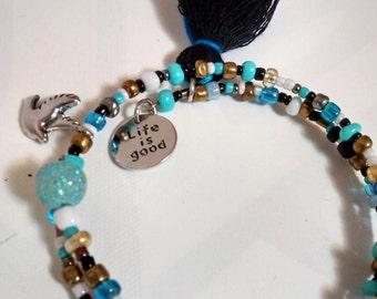 life is good gypsy junk bracelet blue