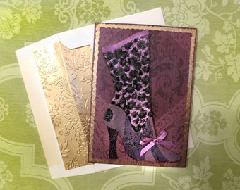 Victorian boot card,purple boot card,steampunk boot card,steam punk card,fashion boot card,fashion shoe card,purple card,funky boot card,