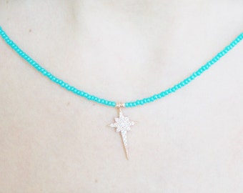 Necklaces-pole star necklace-rose gold turquoise-north pole-natural stone-beaded necklace-925 silver -mother's day-white zircon