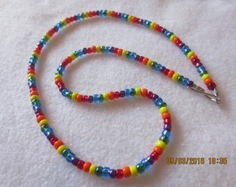 0030 20 inch Rainbow Necklace strung on leather