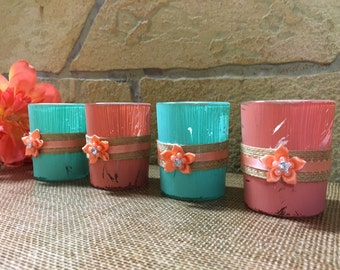 Distressed rustic coral and teal votive candle holders (4)