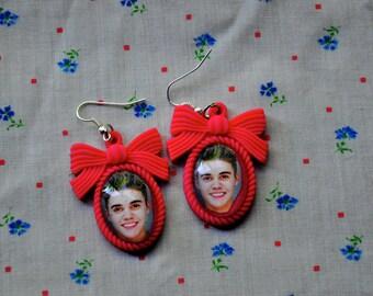 Justin Bieber Mugshot Earrings-Hot Pink Resin Setting-Biebs-Belieber