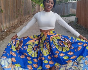 Ankara skirt, African clothing, African print, Highlow skirt, Ankara, African print,  Yellowish skirt, ankara short skirt, African fashion