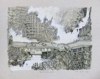 "Oscar Oiwa  -""Falling Water House"" - Handsigned Lithograph"