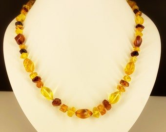 Multicoloured necklace from 100% natural Baltic amber, 50cm, 20g