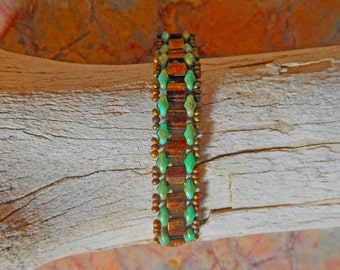 Gardenpath Bracelet with Copper Tilas and Czech Glass Supras and Copper seed beads