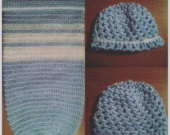 Crocheted Newborn Cocoon & Hat