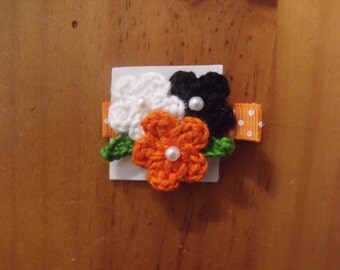 Handmade Boutique Double Prong Lined Alligator Hair Clip - Crochet Flowers - Orange, Black, White w/polka dot ribbon