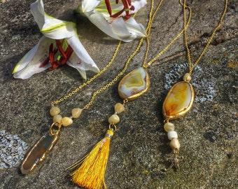 Yellow agate pendants - choose whichever you like! Sunshine jewellery !