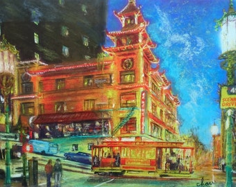San Francisco Chinatown, Little Asia, Fine art Print of original painting, Asian Print, Chinese Print, Chinese painting, Asian painting