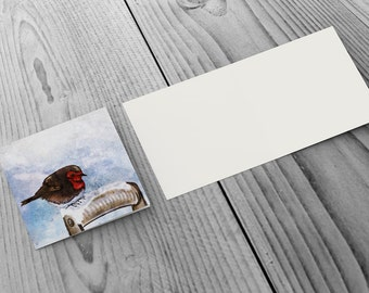 Pack of 6 Christmas Cards with Robin In The Snow design - 148mm x 148mm