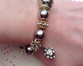 Silver metal beaded, gold metal beaded and disco ball charm bracelet