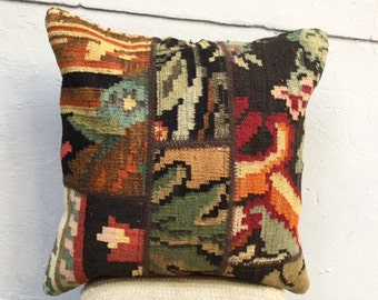 Turkish kilim patchwork pillow, Kilim pillow, 50x50cm, ethnic kilim pillow, Cushion, 20x20 inc, Old Pillow