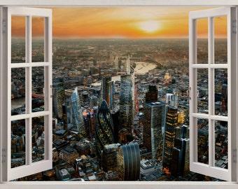 3D Window London Wall Sticker