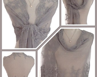 Downton Abbey Look - Vintage Style Lace Grey Wrap/Shawl - Weddings, Races, Proms, Parties