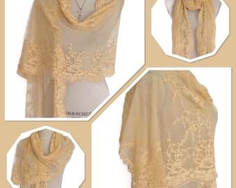 Antique Yellow Downton Abbey Look - Bridal Vintage Style Lace Wrap/Shawl - Weddings, Races, Proms, Parties