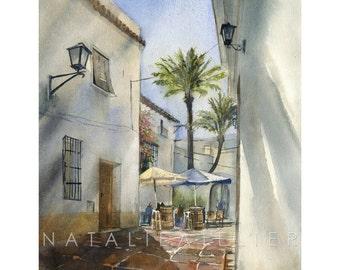 Mijas II - watercolour print, architecture