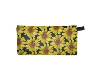 Yellow Floral Pouch, Printed Pencil Case, Zipper Coin Purse, Phone, Small Makeup Cosmetic Bag, School Pouch, Jewelry, Nature Flower Gold