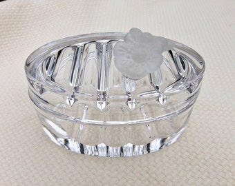 Rare Vintage Collectible Etched w/Puthod Italy Glass Dish With Lid/Soap Dish