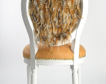 Tufted French Louis XVI side accent dining chair upholstered in genuine leather painted white with gold set of dining chairs feather