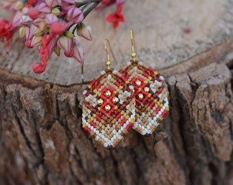 Macrame Indian Earring , goldfield