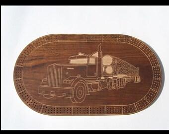 Log Truck Cribbage Board