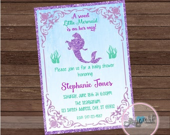 Little Mermaid Baby Shower Invitation, The Little Mermaid Invitation, Mermaid Baby Shower Invitation, Mermaid Baby Shower, Digital File.