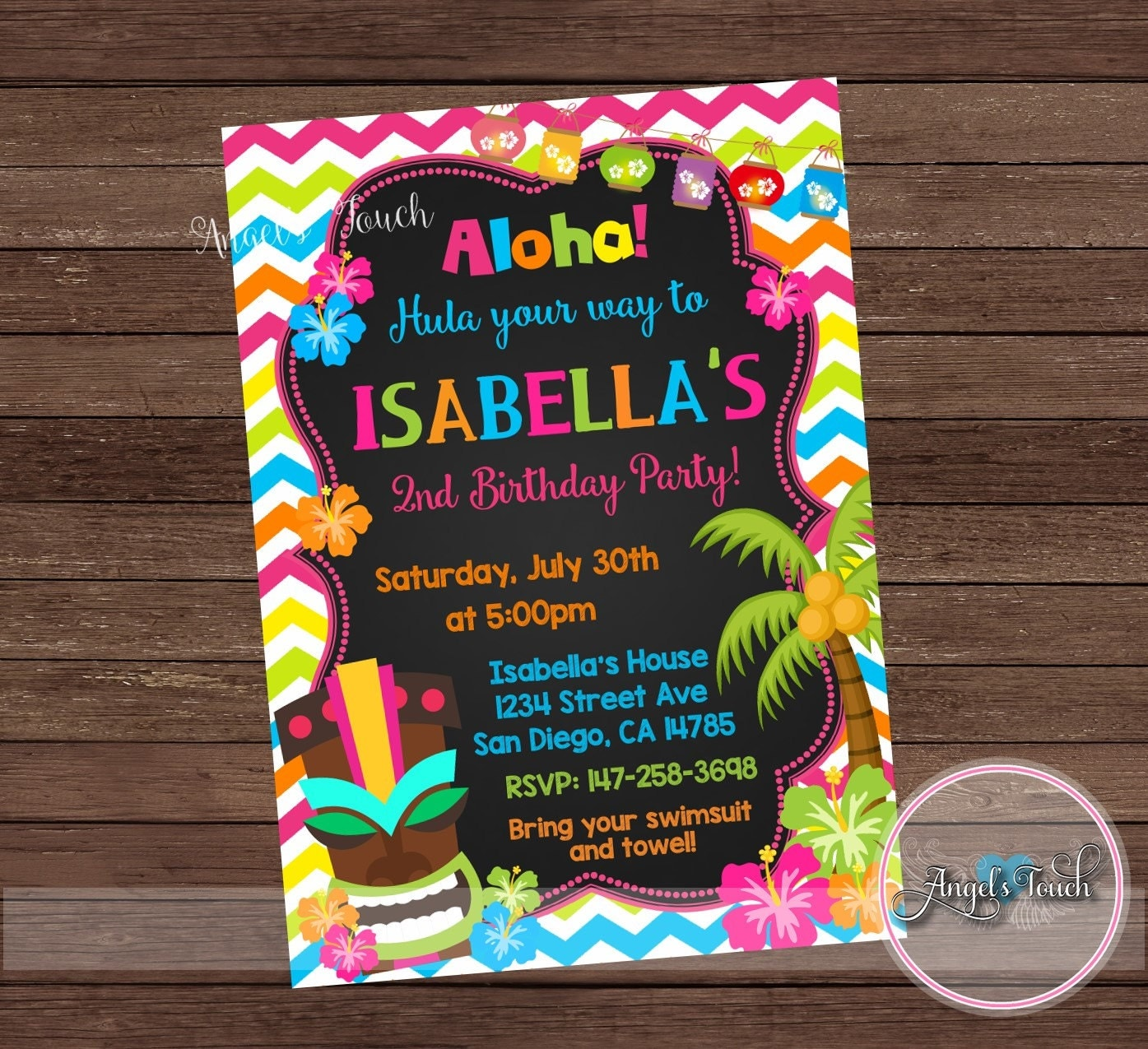 Kitchen Tea Party Invitation Ideas Luau Party Invitation Luau Birthday Invitation Chalk