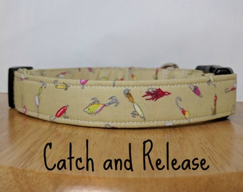 "Fishing Lures Multicolor Dog Collar ""Catch and Release"""