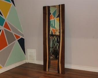 Live edge walnut mirror