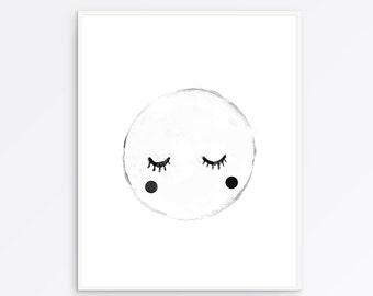 Moon art print, moon nursery, moon wall art, moon nursery art, moon nursery decor, Bedroom Decor, wall decor, nursery wall art, print art,